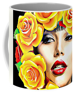 Beautiful Woman Yellow Roses Pop Art Coffee Mug