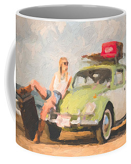 Coffee Mug featuring the digital art Beauty And The Beetle - Road Trip No.1 by Serge Averbukh
