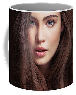 Beauty Face Portrait Of A Young Woman With Long Brown Hair And G Coffee Mug