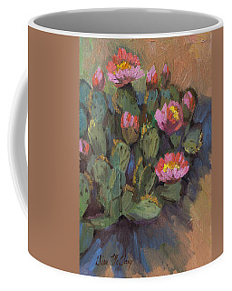 Coffee Mug featuring the painting Beavertail Cactus 4 by Diane McClary