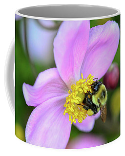 Coffee Mug featuring the photograph Bee And Japanese Anemone by Kerri Farley