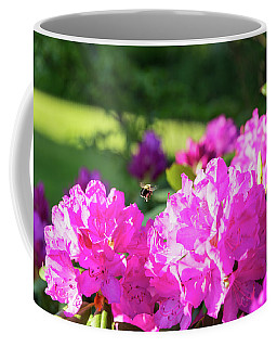 Bee Flying Over Catawba Rhododendron Coffee Mug