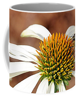 Coffee Mug featuring the photograph Bee In The Echinacea  by AJ Schibig