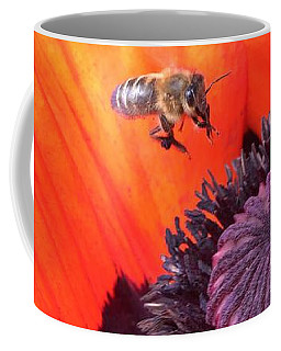 Bee Is Visiting A Poppy Coffee Mug