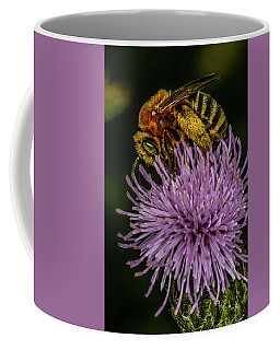 Coffee Mug featuring the photograph Bee On A Thistle by Paul Freidlund