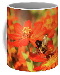 Coffee Mug featuring the photograph Bee On Flower by Donna G Smith