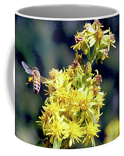Coffee Mug featuring the photograph Bee On Goldenrod by Meta Gatschenberger