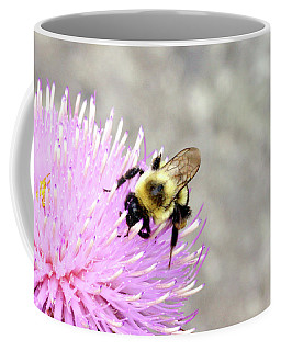 Coffee Mug featuring the photograph Bee On Pink Bull Thistle by Meta Gatschenberger