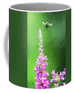 Bee Over Flowers Coffee Mug