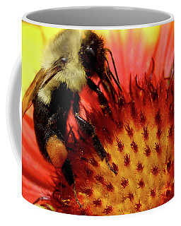Coffee Mug featuring the photograph Bee Red Flower by Meta Gatschenberger