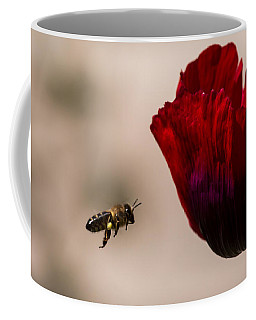Bee Right Profile Flying To Red Flower Coffee Mug