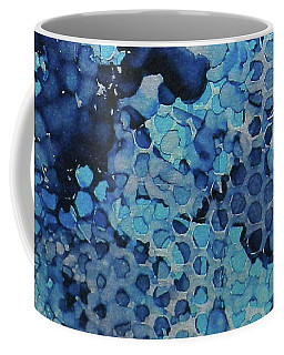 Coffee Mug featuring the painting Beekeeper Blues Ink #13 by Sarajane Helm