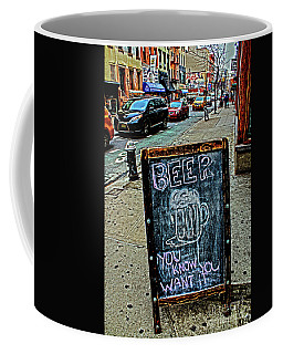Coffee Mug featuring the photograph Beer Sign by Sandy Moulder