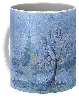 Coffee Mug featuring the painting Begining Of Another Winter by Anna  Duyunova