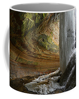 Coffee Mug featuring the photograph Behind The Ice Falls by SimplyCMB
