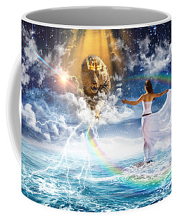 Coffee Mug featuring the digital art Behold, He Is Coming  by Dolores Develde