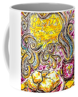 Coffee Mug featuring the mixed media Beignets For Breakfast by Monique Faella