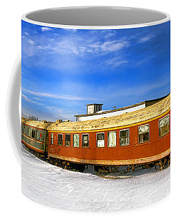 Coffee Mug featuring the photograph Belfast And Moosehead Railroad Cars In Winter by Olivier Le Queinec