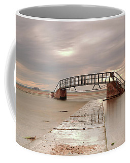 Coffee Mug featuring the photograph Belhaven Stairs And The Bass At Low Tide by Maria Gaellman