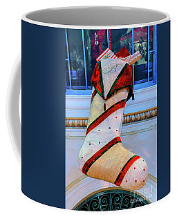 Bellagio Giant White Striped Christmas Stocking Coffee Mug