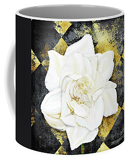 Belle, White Gardenia Blooms Amidst French Art Deco Grunge Coffee Mug