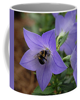Coffee Mug featuring the photograph Bellflower And Bee  by Marie Hicks
