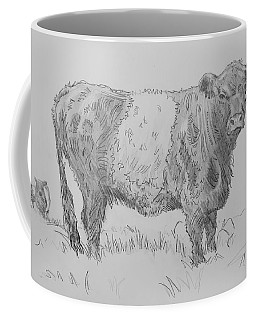 Belted Galloway Cow Pencil Drawing Coffee Mug