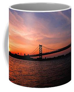 Ben Franklin Bridge Sunset Coffee Mug