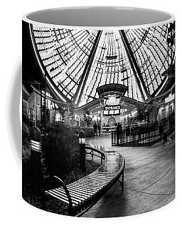 Bench And Wheel At Night In Black And White Coffee Mug