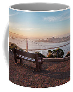 Bench Overlooking Downtown San Francisco And The Golden Gate Bri Coffee Mug