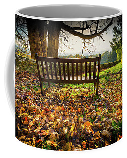 Bench With Autumn Leaves Coffee Mug