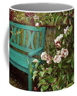 Bench With Pink Roses Coffee Mug
