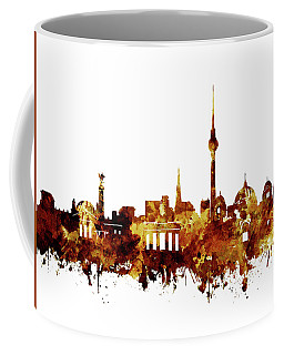 Berlin City Skyline Brown Coffee Mug by Bekim Art