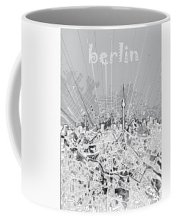 Berlin City Skyline Map 2 Coffee Mug by Bekim Art