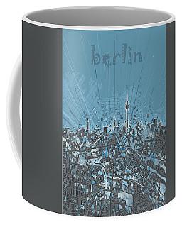 Berlin City Skyline Map 3 Coffee Mug by Bekim Art