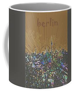 Berlin City Skyline Map 4 Coffee Mug by Bekim Art