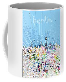 Berlin City Skyline Map Coffee Mug by Bekim Art