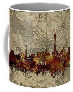 Berlin City Skyline Vintage Coffee Mug by Bekim Art