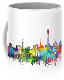 Berlin City Skyline Watercolor Coffee Mug by Bekim Art