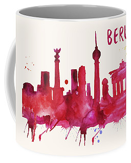 Berlin Skyline Watercolor Poster - Cityscape Painting Artwork Coffee Mug