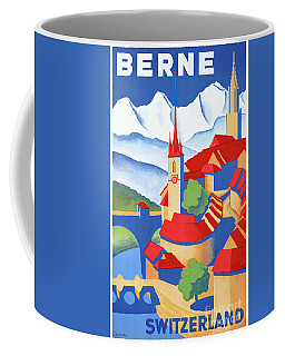 Bern Switzerland Vintage Travel Poster Restored Coffee Mug