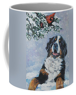 Bernese Mountain Dog With Cardinal Coffee Mug