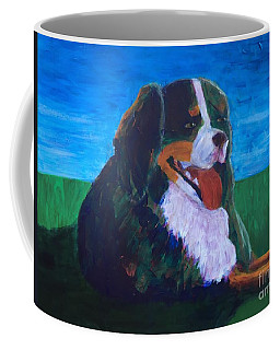 Coffee Mug featuring the painting Bernese Mtn Dog Resting On The Grass by Donald J Ryker III