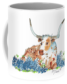 Bessie In The Bluebonnets Watercolor Painting By Kmcelwaine Coffee Mug