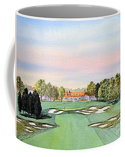Coffee Mug featuring the painting Bethpage State Park Golf Course 18th Hole by Bill Holkham