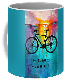 Coffee Mug featuring the mixed media Better On A Bike by Nancy Merkle