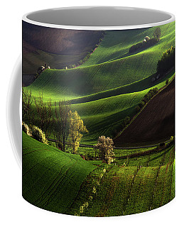 Coffee Mug featuring the photograph Between Green Waves by Jenny Rainbow