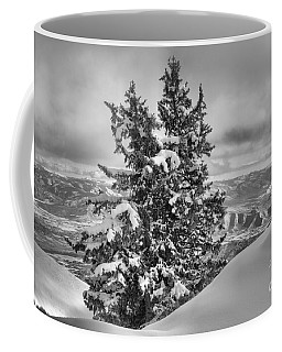 Between Mountains And Snow Drift Black And White Coffee Mug