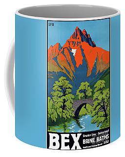 Coffee Mug featuring the photograph Bex Switzerland Vintage Travel Poster Restored by Carsten Reisinger