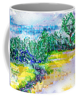 Coffee Mug featuring the drawing Beyond The Clouds by Seth Weaver